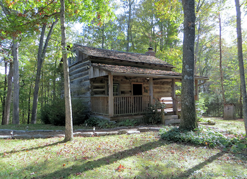 The cabin was built about 1860 and was set in the woods near the top of a ridge.