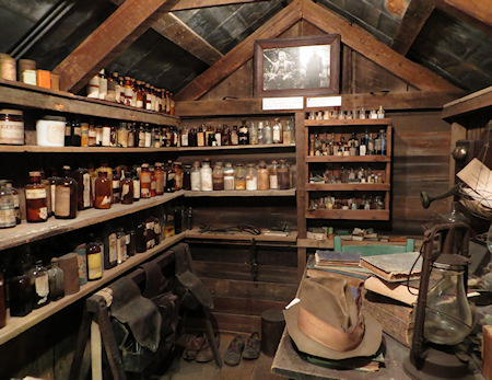 Inside the Doc's medicine house - in reality a tiny shack. Most of these items are the ones he used.