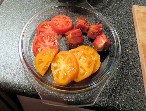 I am not quite sure why they were 'heirloom' tomatoes - but they were unusual colours and shapes and tasted just wonderful.