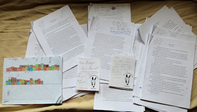 The scribbled-over printed chapters, graphs and notes on donkey notepaper are all part of the final checks I do on every book,