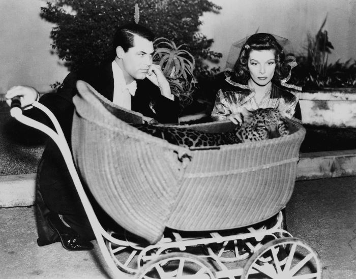 Bringing Up Baby – with the beautiful Katherine Hepburn and the ever so charming Cary Grant. The leopard was cute too.