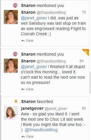 My post-event twitter conversation with the lovely Sharon from Shazza's Book Blog