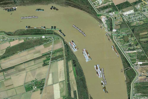 Seen from space - the river is still wide - and very very busy