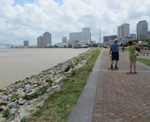 The levee in New Orleans - newly repaired after the ravages of Hurricane Katrina.