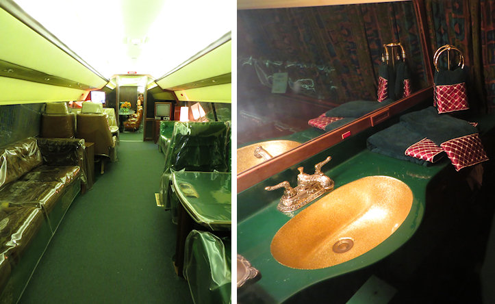 The larger plane had a comfortable living area and yes - the bathroom was gold.