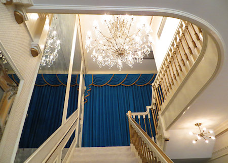 The stairs lead to Elvis' bedroom - but tourists are not permitted in the upper floor of the house. Officially is is out of respect, but I suspect crowd control problems  may have something to do with it.