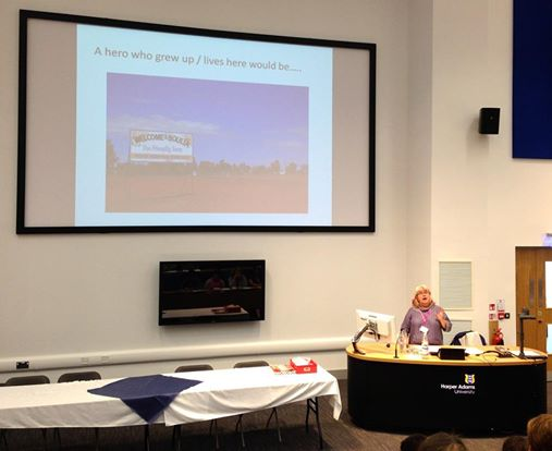 The lovely Fiona Harper took this shot of me - in full swing... although somewhat dwarfed by the projector screen.