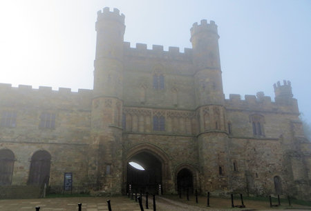 The misty morning created a great atmosphere around the great gatehouse.