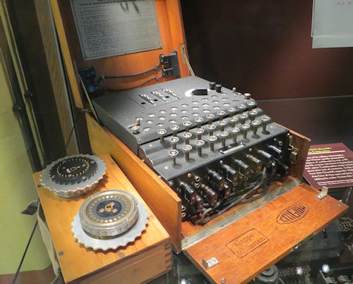 They Enigma machine that created the codes. I was surprised to learn it was commercially available before the war - but modified before encoding Nazi secrets.