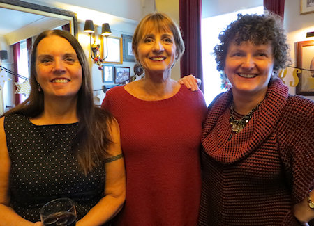 Liz Harris with our wonderful chapter organisers Jean Fullerton and Juliet Archer.