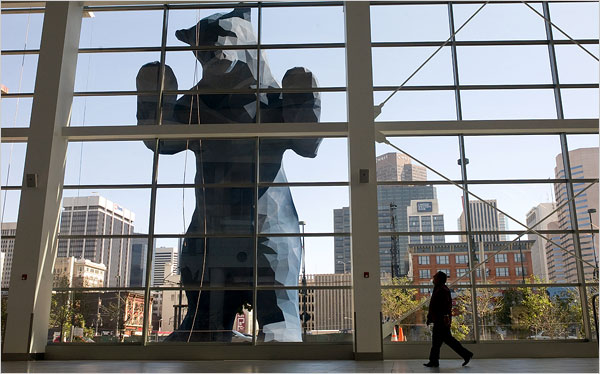 I wasn't able to go inside the Convention Centre - but this New York Times image shows how the bear looks from inside.