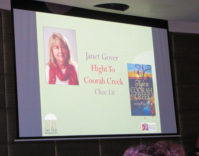 My name and book up on the big screen - a very proud moment.