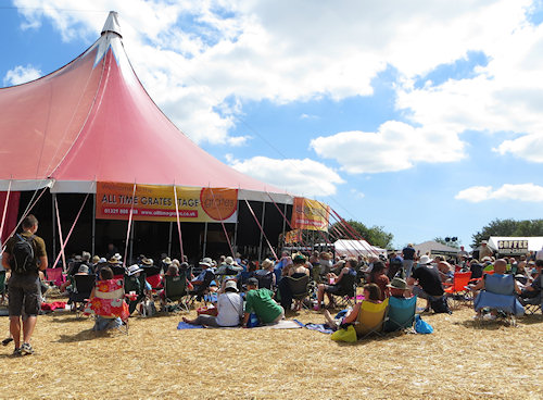The main tent at the Wickham Folk Festival - welcome shade on a very hot day.