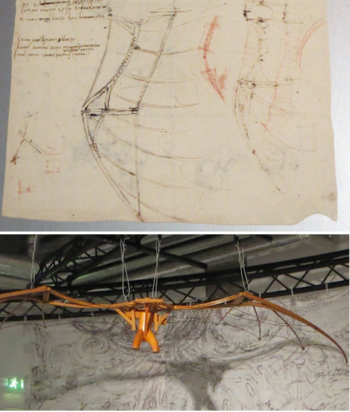 The flying machine with wings the emulated the birds Leonardo sketched.