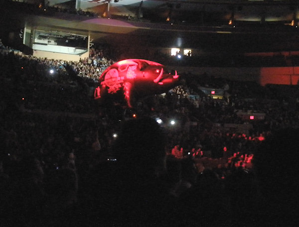 When we saw Roger Waters do The Wall at Madison Square Garden - he floated a giant pig above the audience.