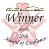 Colorado Romance Writers 2016 Award of Excellence cover winner - Novella - for Christmas at Coorah Creek