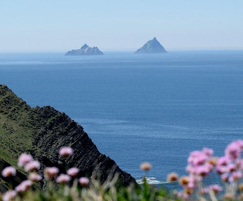 The two Skelligs rising out of the sea mist.