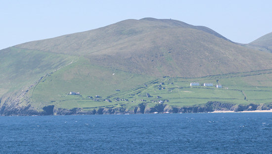 The ruins of the village on Great Blasket as seen from the mainland. Not far - but a world away.
