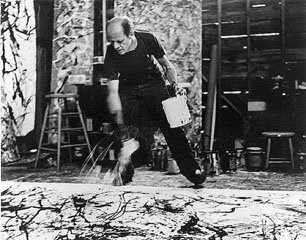 Pollock at work - one of the pictures taken by Hans Namuth