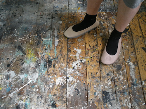 The studio floor - I must point out, those are not my feet.