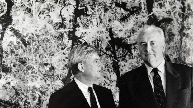 Photo from the Sydney Morning herald of ANG director James Mollison and Prime Minister Whitlam with THAT painting. The PM is the tall one - he was 6ft 4.