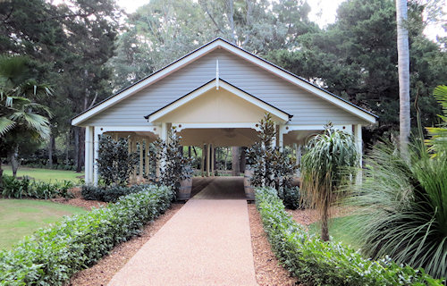 The pavilion is a modern addition, but blends beautifully into the grounds.