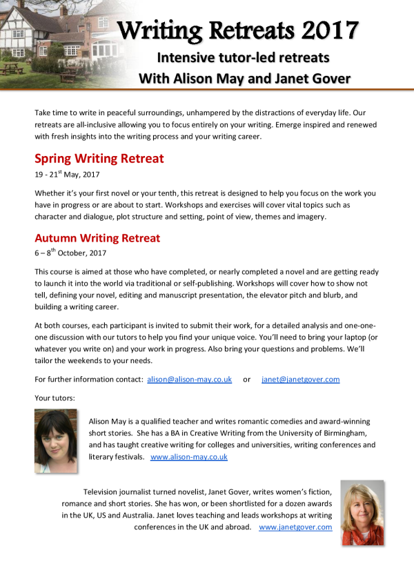 Writing retreats 2017 - Intensive tutor-led retreats with Janet Gover and Alison May