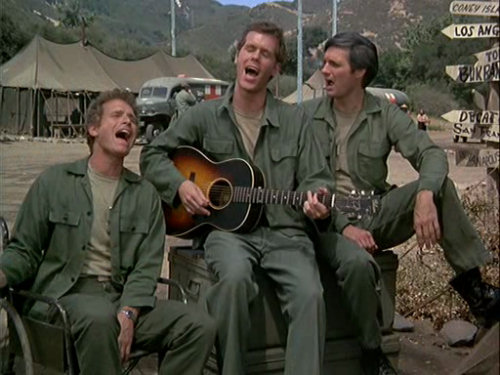 Loudon wainwright appeared briefly on MASH - writing funny, but insightful songs about wars and the people who have to fight them.
